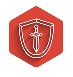 White line medieval shield with sword icon vector