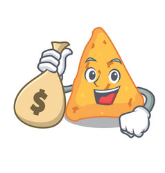 With money bag nachos character cartoon style vector