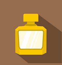 Yellow jar of perfume icon flat style vector