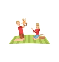 Young Parents With Baby On Picnic vector image