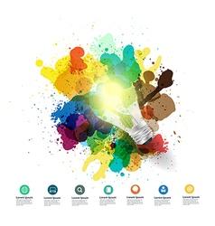 Creative light bulb idea with watercolor splatter vector image vector image