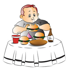 fat boy eating burger vector image vector image