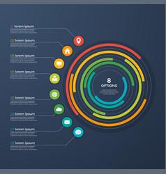 presentation infographic circle chart 8 options vector image