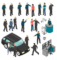 security isometric set vector image