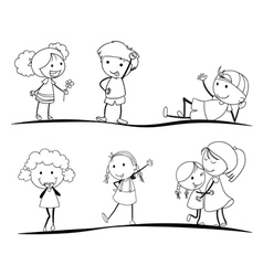 sketches of kids vector image