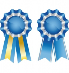 two blue award ribbons vector image vector image
