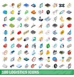 100 logistics icons set isometric 3d style vector image