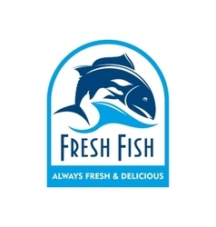 Blue badge of salmon in wave with text Fresh Fish vector image