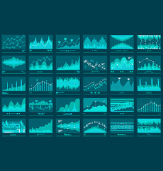 financial line graphs business banner vector image