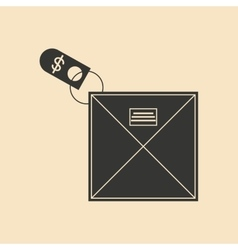 Flat in black and white envelope with money vector