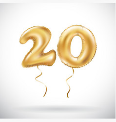 golden number 20 twenty metallic balloon party vector image