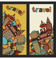 Town banners design with hand drawn houses vector image