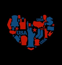 USA love Sign heart of United States traditional vector image vector image