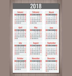 calendar for 2018 week starts sunday simple vector image