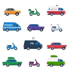Collection of different cars like ambulance and vector image vector image