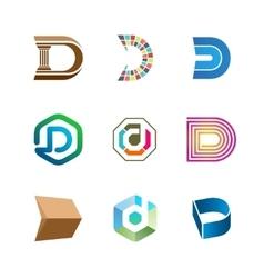 Letter D logo set Color icon templates design vector image vector image