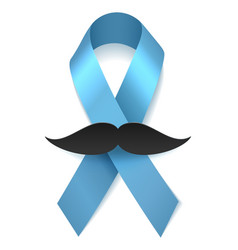 Man health blue ribbon with moustache vector image