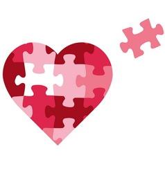 puzzle heart icon vector image