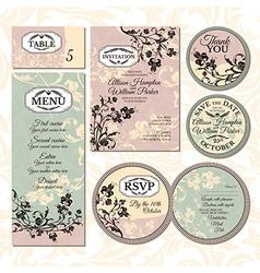 Set of floral wedding cards vector