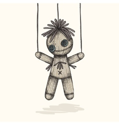 Spooky Voodoo Doll In A Sketch Style vector image