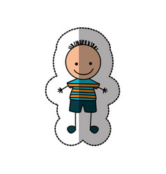 boy happy with black hair icon vector image