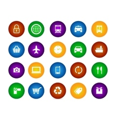colorful icon set travel shopping equipment circle vector image vector image