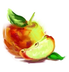 drawing apple with a slice vector image