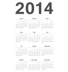 German 2014 year calendar vector image vector image
