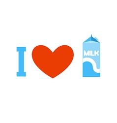I love milk Heart and carton of milk Emblem for vector image