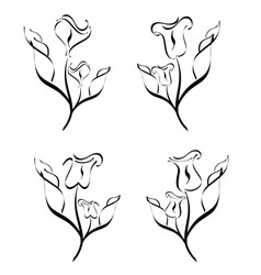 set of flower silhouette vector image vector image