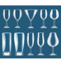 set of glass wine glasses vector image