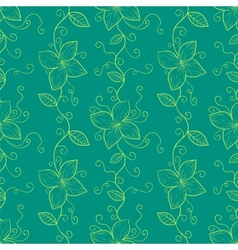 Vertical stylized flowers and leaves branch vector image vector image