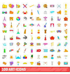 100 art icons set cartoon style vector image
