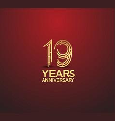19 years golden anniversary logotype vector
