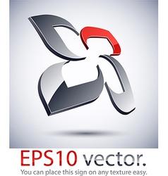 3D modern flower logo icon vector