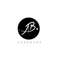 Ab handwritten brush letter logo design vector
