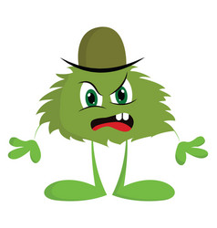 an angry green monster with a hat or color vector image