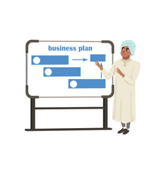 arabic businessman character presentation and vector image