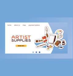 Art studio web landing page studying in vector