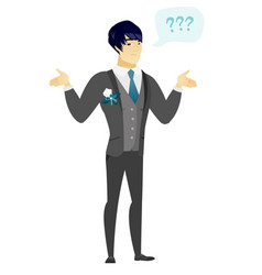 Asian confused groom with spread arms vector