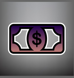 Bank note dollar sign violet gradient vector
