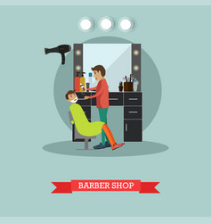 Barber shop concept in flat vector