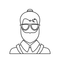 Bearded hipster face icon outline style vector image