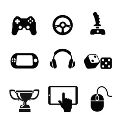 black game icons set white background vector image