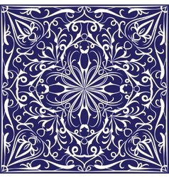 Blue bandanna with white pattern vector