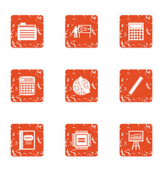 boost the economy icons set grunge style vector image