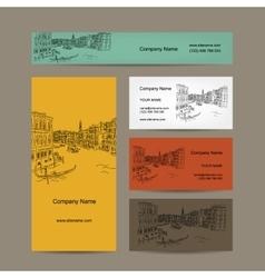 Business cards design Venice city sketch vector image
