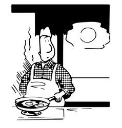 caricature - the cook prepares eggs vector image