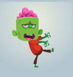 Cartoon image of a funny green zombie vector
