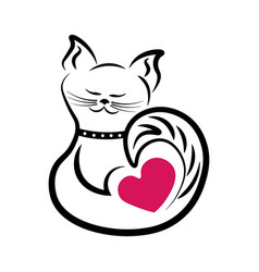 cat is outlined in black with the heart vector image